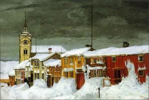 """""""Efter snestormen"""" av Harald Sohlberg. Originalen finnes i Nasjonalgalleriet i Oslo."""